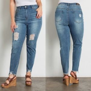 Bay Breeze Distressed High Waisted Jeans Plus Size
